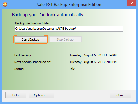 How to backup Microsoft Outlook using Safe PST Backup