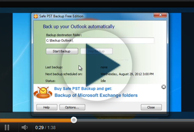 Backup Microsoft Outlook using Safe PST Backup