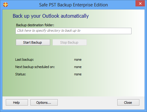 Click to view Safe PST Backup for Microsoft Outlook 2.64 screenshot